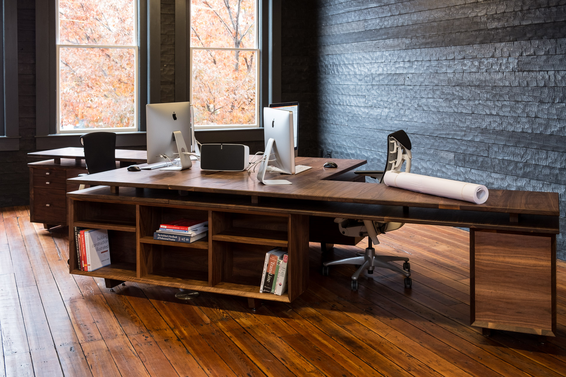 The Desk Was Constructed As Eight Different Pieces All Built Separately And  Assembled In The Office. The Base For The Desk Consists Of Two Bookcases  And Two ...